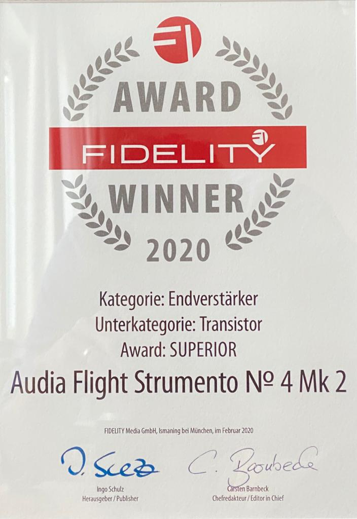 Honored to receive the Fidelity 2020 award in superior category for our Audia Flight Strumento n. 4 mk2 from Germany - News - Audia