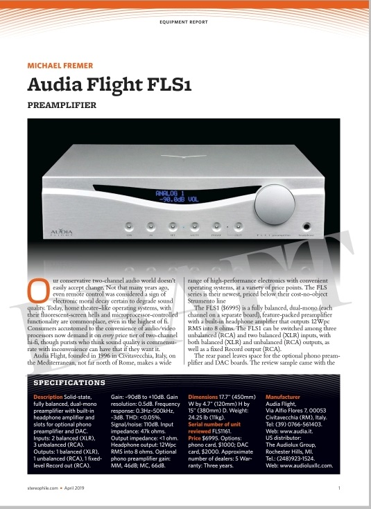 A great review for our FLS1 in Stereophile, USA - News - Audia
